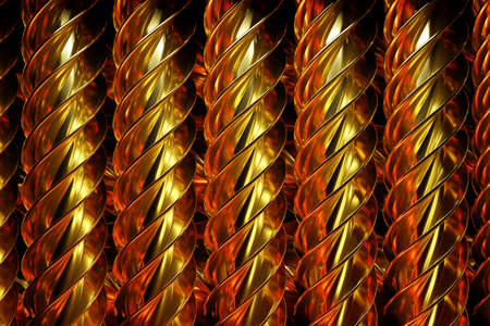 3d illustration of rows of gold metallic spiral. Set of wire on monocrome background, pattern. Geometry background, Weave pattern