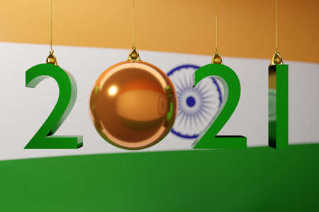 3D illustration 2021 happy new year against the background of the national flag of India, 2021 white letter. Illustration of the symbol of the new year. Stock fotó