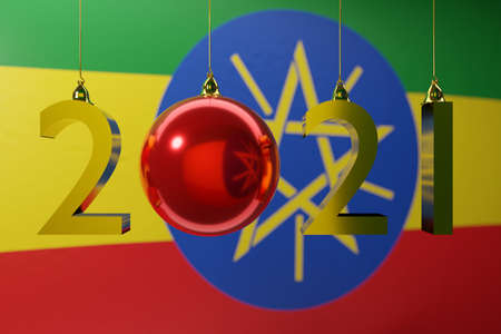 3D illustration 2021 happy new year against the background of the national flag of Ethiopia, 2021 white letter. Illustration of the symbol of the new year.