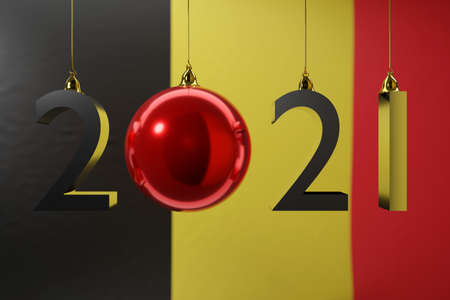 3D illustration 2021 happy new year against the background of the national flag of Belgium, 2021 white letter. Illustration of the symbol of the new year.