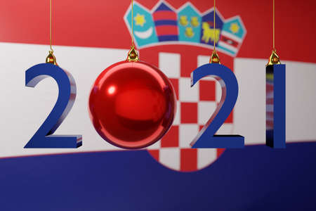 3D illustration 2021 happy new year against the background of the national flag of Croatia, 2021 white letter. Illustration of the symbol of the new year. Stock fotó