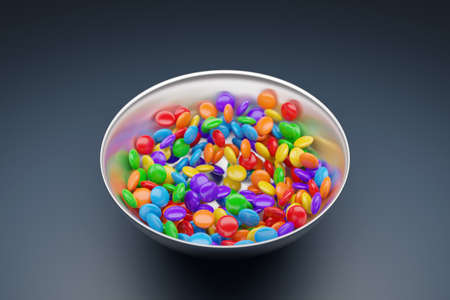 3d illustration of small glass plates with colorful chewing gums on a gray background. A treat for the kids. Stock fotó