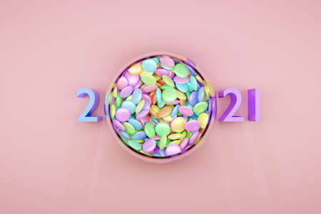 3d illustration of small glass plates with colorful chewing gums and 2021 pink letter on a pink background, happy new year. Illustration of the symbol of the new year. A treat for the kids. Sweets are scattered nearby Stock fotó