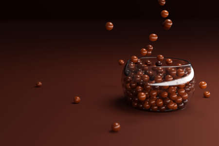 3d illustration of small glass plates with chocolate candies on a brown background. A treat for the kids. Round sweets, dry breakfast pour into a plate, top view