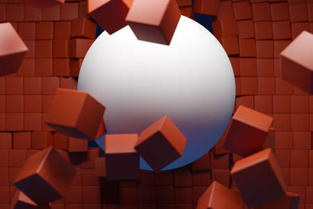 3d illustration of a large white ball bursting out of a wall of brown cubes. Technology geometry background. Flying ball and cubes