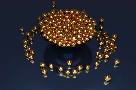 3D illustration of a large plate with golden balls flying in different directions on a black background. Shiny beads