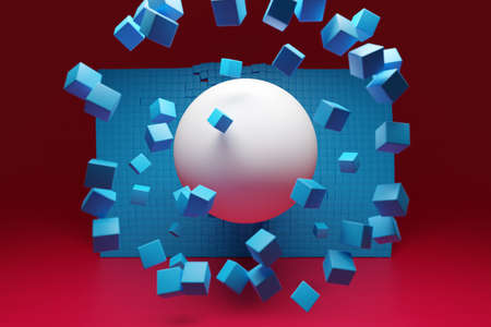 3d illustration of a large white ball bursting out of a wall of blue cubes. Technology geometry background. Flying ball and cubes