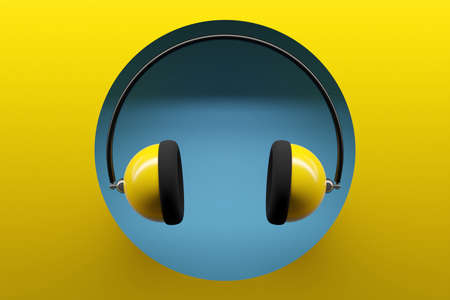 3d illustration of yellow retro earpieces on yellow isolated background. Headphone icon illustration