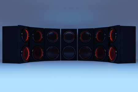 3d illustration row of music speakers with subwoofer on blue isolated background. Speaker audio sound system for concert and party