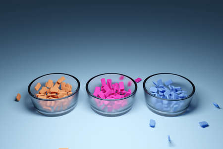 3d illustration of three small glass plates with multi-colored chewing gums on a light background. A treat for the kids. orange, blue and pink candies. Stock fotó