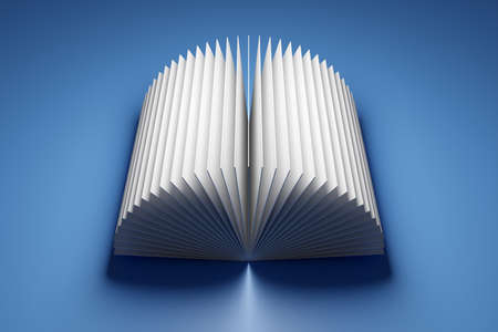 3d illustration of the edges of white sheets of paper. Opened book, notebook with blank pages. Abstract geometric background, texture