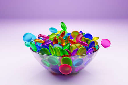 3d illustration of small glass plates with colorful chewing gums on pink background. A treat for the kids. Sweets are scattered nearby Stock fotó