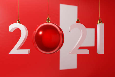 3D illustration 2021 happy new year against the background of the national flag of Switzerland, 2021 white letter. Illustration of the symbol of the new year.