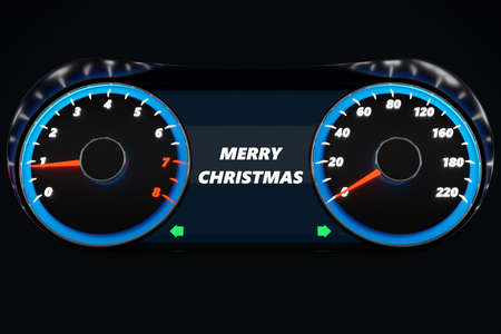 3D illustration Close up Instrument automobile panel with speedometer, tachometer, which says Merry Christmas 2020, 2021. The concept of the new year and Christmas in the automotive field