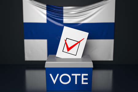 3d illustration of a ballot box or ballot box, into which a ballot bill falls from above, with the national flag of Finland in the background. Voting and choice concept