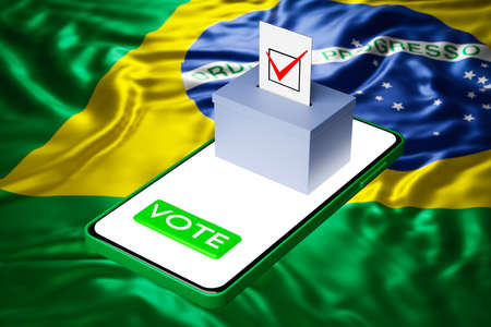 3d illustration of a voting box with a billboard standing on a smartphone, with the national flag of Brazil in the background. Online voting concept, digitalization of elections Zdjęcie Seryjne