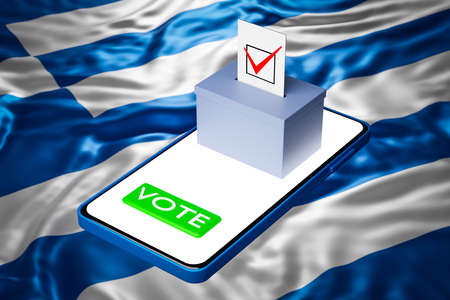 3d illustration of a voting box with a billboard standing on a smartphone, with the national flag of Greece in the background. Online voting concept, digitalization of elections