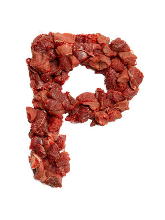 Letter P of the English alphabet from cuts of beef on a white isolated background.