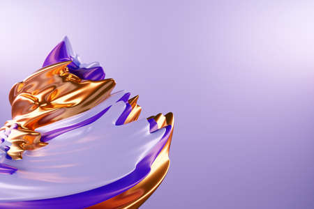 3D illustration of a abstract violet and gold background with scintillating circles and gloss. illustration beautiful. Abstract background with twirl effect in purple 免版税图像
