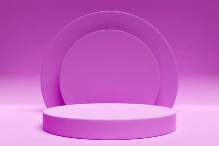 3d illustration of a pink scene from a circle with round arch at the back on a pink background. A close-up of a round monocrome pedestal.