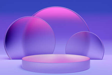 3d illustration of a purple circle podium stand on the background of a geometric composition. 3d rendering. Minimalism geometry background