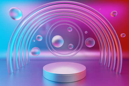 3d illustration of a white scene transparent water bubbles and arch in the background on a gradient background. A close-up of a round monocrome pedestal. Reklamní fotografie