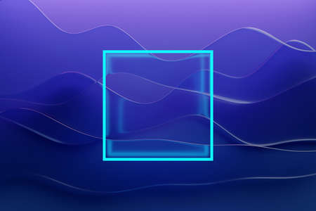 3D illustration of bright blue neon square on purplewave background. 3d rendering. Minimalism geometry background