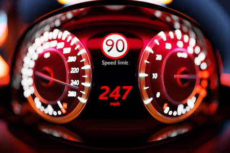 3D illustration of the new car interior details. Speedometer shows a maximum speed of 247 km h, tachometer with red backlight. Design and interior of a modern car.