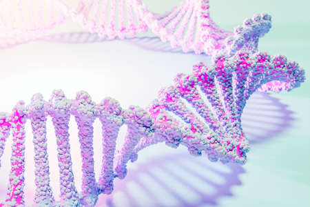 3d illustration of a stereo strip of different colors. Geometric stripes similar to waves. Simplified pink and blue dna line on white isolated background