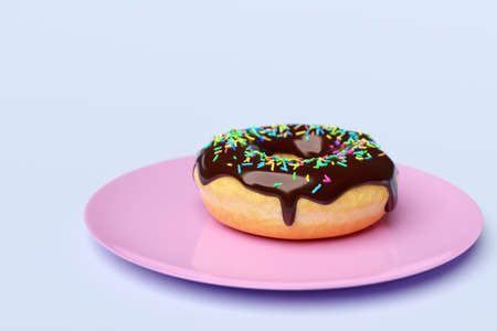 3d illustration Chocolate donut with multicolored sprinkles on a pink classic plate, isolated on a light background. A cute, colorful and glossy donut with dark icing and multi-colored powder. Simple modern design.