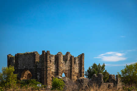 An antique ruined house ruin city. Basilica, dating from the 3rd century AD, at Aspendos ancient site in Turkey.