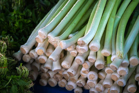 Close-up of green vegetable for background, onion texture. Green leeks on the showcase of the farmers market. Fresh raw vegetables Archivio Fotografico