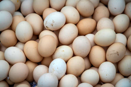 Close-up brown and white eggs, top view. Real farm chicken eggs