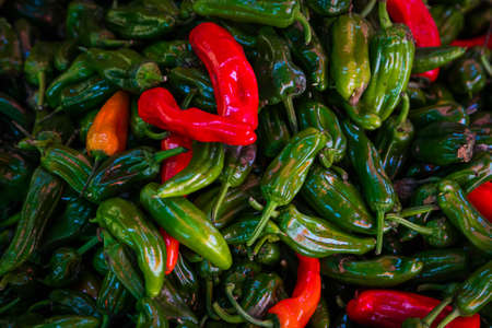 Close-up green and red vegetable for background, pepper texture. Green peppers form a natural shape. Fresh raw vegetables