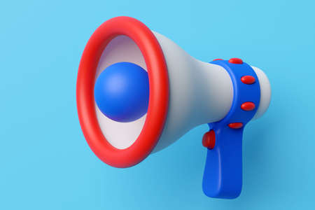 Megaphone speaker or megaphone loudspeaker, realistic 3d illustration. Modern isolated megaphone loudspeaker with buzzer and handle, lifeguard emergency signal and speakerphone for announcements