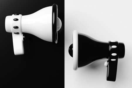 Megaphone speakers or megaphone loudspeaker, realistic 3d illustration. Modern isolated megaphone loudspeakers with buzzer and handle, lifeguard emergency signal and speakerphone for announcements