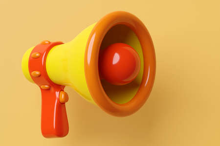 Orange, red and yellow cartoon glass loudspeaker on a orange monochrome background. 3d illustration of a megaphone. Advertising symbol, promotion concept.