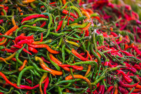 Close-up green, orange and red vegetable for background, green pepper texture. Green chili peppers form a natural shape. Fresh raw vegetables