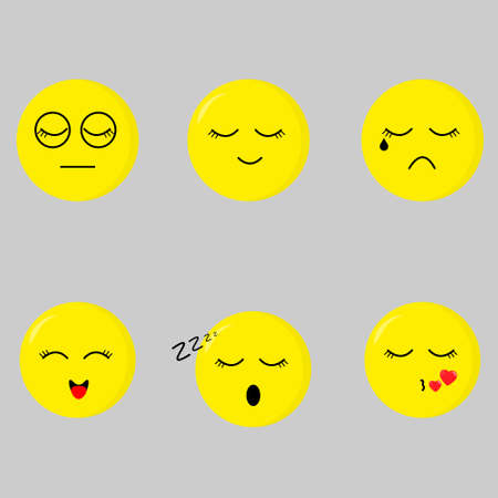 A set of vector pictures with different emotions. Cute emoticons on gray background Ilustração Vetorial