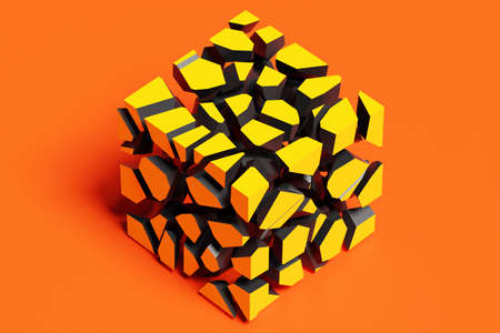 3D rendering of a volumetric shape of a cube. The geometry of shapes that are broken down into small pieces. Random shapes.