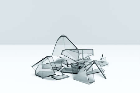 3d illustration of a transparent broken cube with huge shards on a white background. The geometry of shapes that are broken down into small pieces. Random shapes. 版權商用圖片