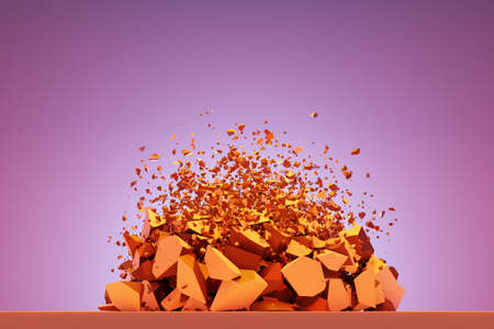 3d illustration of a small explosion of stone fragments. Broken shape is flying in different directions.