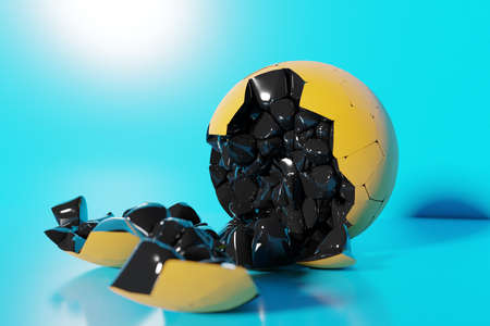 3D rendering of a volumetric shape of a ball. The geometry of shapes that are broken down into small pieces. Random shapes. 版權商用圖片