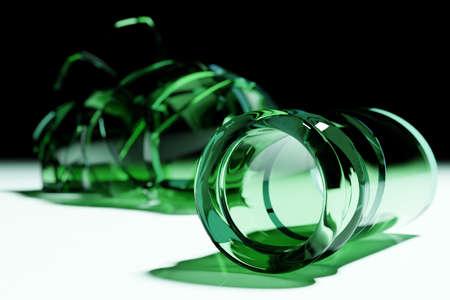 3D Render Broken Glass Realistic green beer bottle Mock Up, 3D illustration Graphic Design.