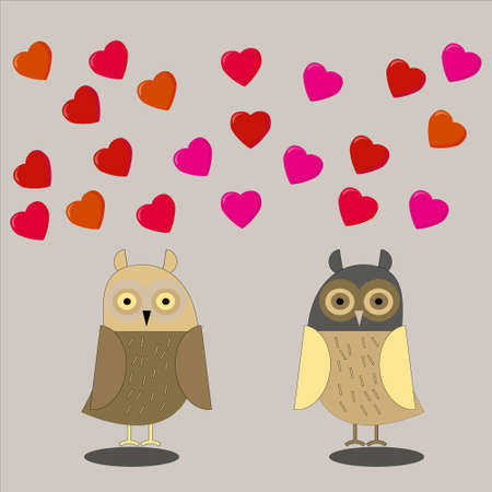 Cute loving owls look at each other hearts fly above them on gray isolated background
