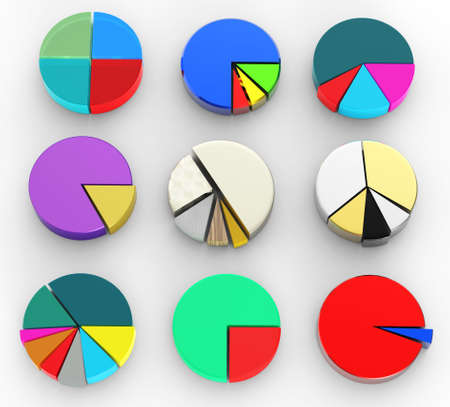 wealth management: set of different pie chart on isolated background
