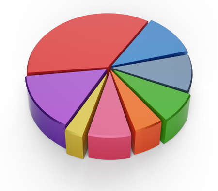 set of different pie chart on isolated background