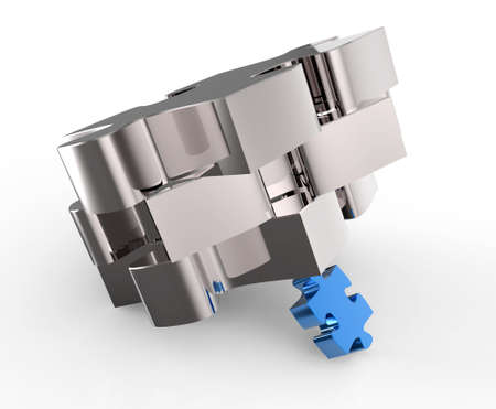 puzzles partnership as concept on white Stock Photo - 16701229