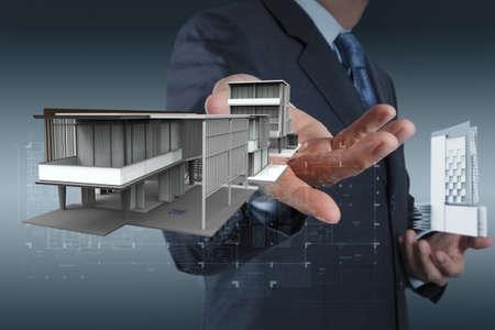 scaffold: businessman draws building development concept