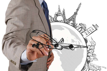 businessman hand draws dream travel around the world Stock Photo - 16695298